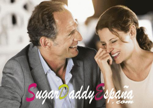 sugar daddy con más edad rie con una sugar baby