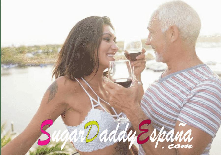 sugar daddy con edad toma vino con una sugar baby joven